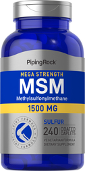Mega MSM 1500 + Sulfur 2 Bottles x 120 Coated Caplets