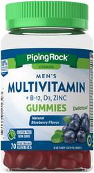 Multivitamine für Männer + B-12 D3 & Gummibärchen mit Zink (natürliches Beerenaroma) 70 Vegetarische Gummibärchen
