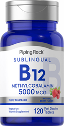 B-12 Methylcobalamin 5000mcg Sublingual 2 Bottles x 60 Fast Dissolve Tablets
