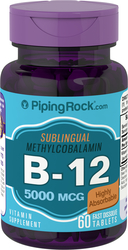 B-12 Methylcobalamin 5000mcg Sublingual 60 Fast Dissolve Tablets