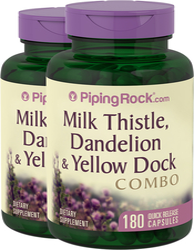Milk Thistle, Dandelion & Yellow Dock 2 Bottles x 180 Capsules