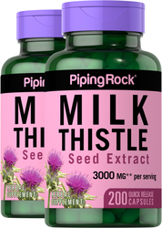 Milk Thistle Seed Extract 3000 mg (per serving), 200 Capsules x 2 Bottles