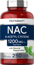 N-Acetyl Cysteine (NAC) 1200mg with Natural Peppermint, 250 Coated Caplets