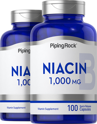 Niacin 1000mg 2 Bottles x 100  Capsules