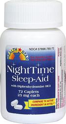 Somnifère Nighttime (Diphénhydramine HCl 25mg) 72 Comprimés