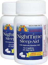 Nighttime Sleep Aid (Diphenhydramine HCl 25mg) 2 Bottles x 72 Tablets