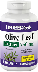 Olive Leaf Standardized Extract 750 mg, 180 Caps