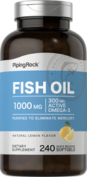 Omega-3 Fish Oil 1000 mg Lemon Flavor 240 Softgels