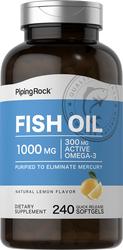 Óleo de peixe com ómega-3 Sabor a limão 240 Gels de Rápida Absorção