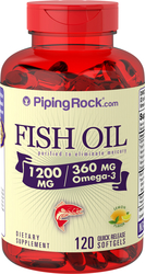Omega-3 Fish Oil 1200 mg Lemon Flavor 120 Softgels