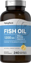 Olio di pesce Omega-3 al gusto di limone 240 Capsule in gelatina molle a rilascio rapido