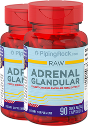 Adrenal Glandular 350mg Raw Concentrate Bovine 2 Bottles x 90 Capsules