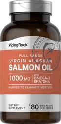 Lachsöl, 1000 mg, Vergine vom Alaska-Wildlachs, Full Range 180 Softgele mit schneller Freisetzung