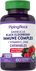 Sambucus, complesso di sambuco nero con vitamina C e zinco (bacca naturale) per le difese immunitarie 60 Compresse masticabili