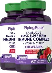 Sambucus Black Elderberry Immune Complex with C & Zinc (Natural Berry), 60 Chewable Tablets x 2 Bottles