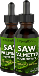 Saw Palmetto Berry Liquid Extract Alcohol Free 2 Dropper Bottles x 2 fl oz (59 mL)
