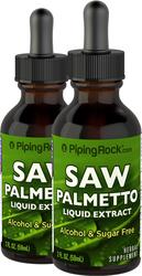 Saw Palmetto Berry Liquid Extract Alcohol Free 2 Dropper Bottles x 2 fl oz (59 mL)