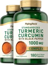 Complesso di curcuma e turmerico standard con pepe nero 180 Capsule a rilascio rapido