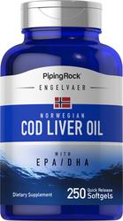 Huile d'Engelvaer suprême norvégienne de foie de morue 250 Capsules molles à libération rapide
