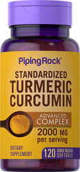 Turmeric Curcumin Advanced Complex Standardized Extract 120 Capsules molles à libération rapide