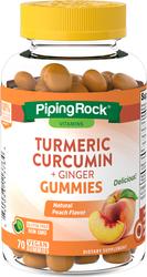 Turmeric Curcumin & Ginger (Natural Peach), 70 Vegan Gummies