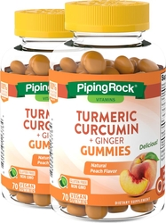 Turmeric Curcumin & Ginger (Natural Peach), 70 Vegan Gummies x 2 Bottles