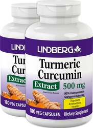 Turmeric Curcumin Standardized Extract , 500 mg, 180 Vegetarian Capsules x 2 Bottles