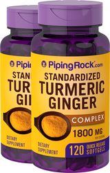 Turmeric Ginger Complex Standardized, 1800 mg (per serving), 120 Softgels x 2 Bottles