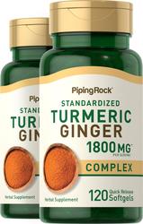 Complexe de curcuma gingembre Extrait normalisé 120 Capsules molles à libération rapide