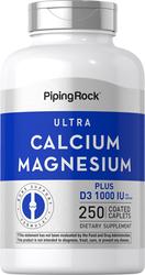 Calcium et magnésium Ultra avec D3 (Cal 1000mg/Mag 500mg/D3 1000IU) (par portion) 250 Petits comprimés enrobés