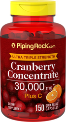 Canneberge (Cranberry) Ultra Triple Force Plus C, 30000mcg (par dose) 150 Gélules à libération rapide