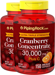 Kranberi Kekuatan Ultra Tiga Kali Ganda Plus C, 30,000 mg (Setiap Sajian) 150 Kapsul Lepas Cepat