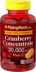 Kranberi Kekuatan Ultra Tiga Kali Ganda Plus C, 30,000 mg (Setiap Sajian) 90 Kapsul Lepas Cepat