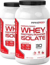 Whey Protein Isolate Powder  (Unflavored) 2 lb x 2 Bottles